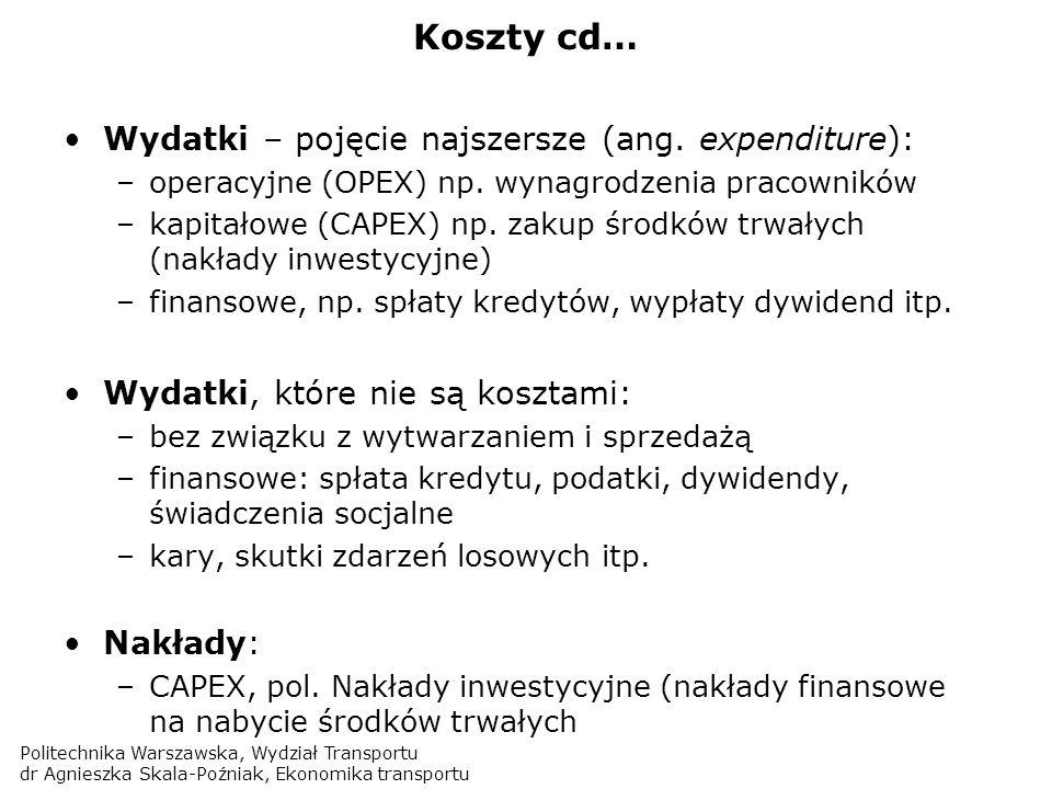Koszty cd… Wydatki – pojęcie najszersze (ang. expenditure):
