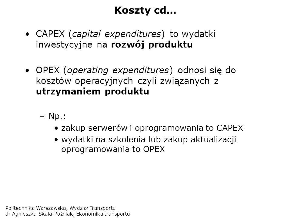 Koszty cd… CAPEX (capital expenditures) to wydatki inwestycyjne na rozwój produktu.