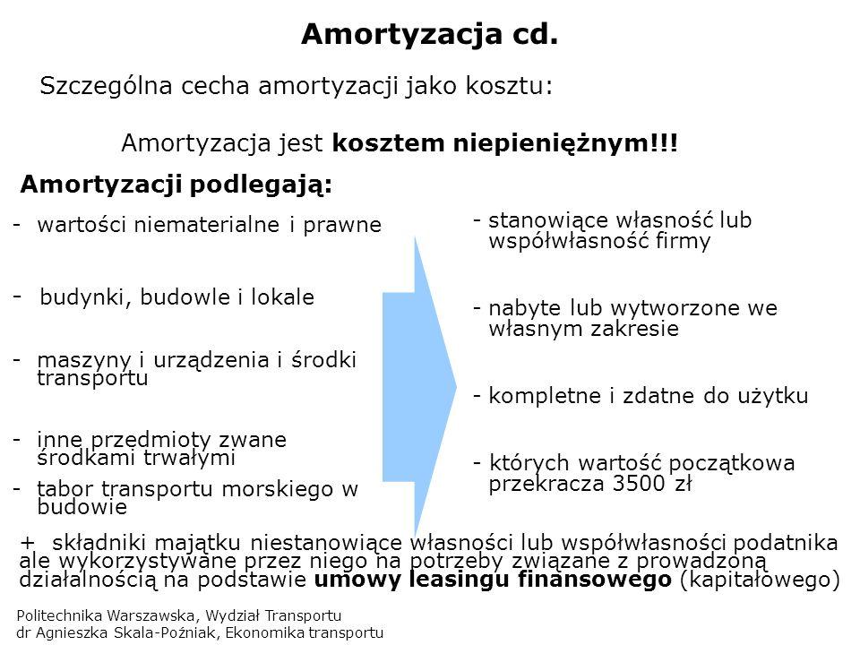 Amortyzacja jest kosztem niepieniężnym!!!