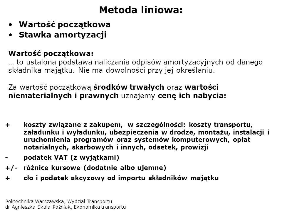 Metoda liniowa: Wartość początkowa Stawka amortyzacji