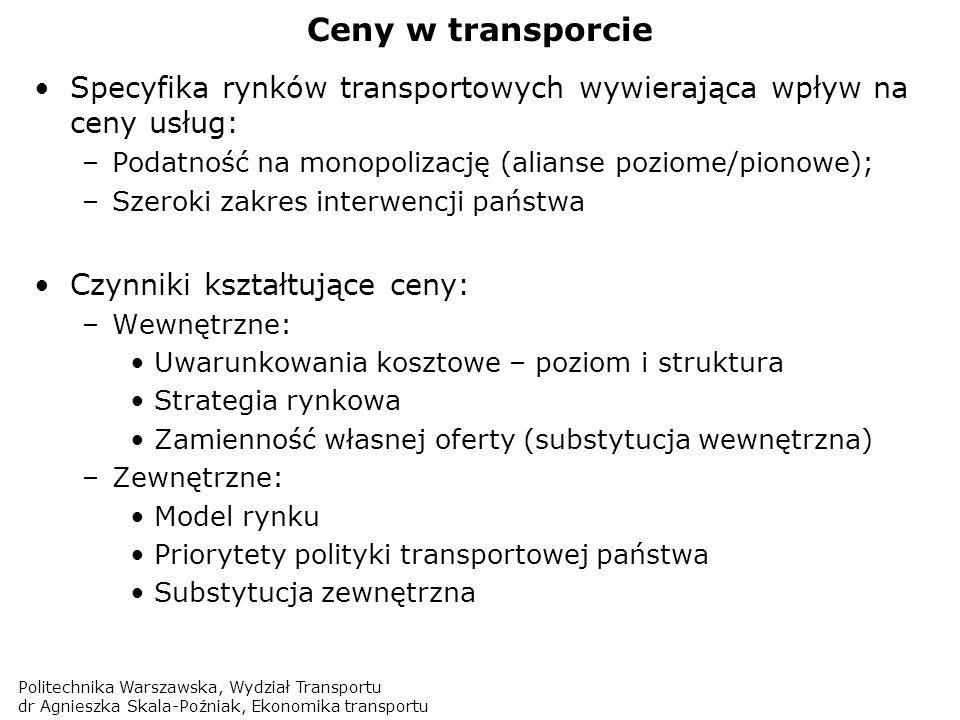 Ceny w transporcie Specyfika rynków transportowych wywierająca wpływ na ceny usług: Podatność na monopolizację (alianse poziome/pionowe);