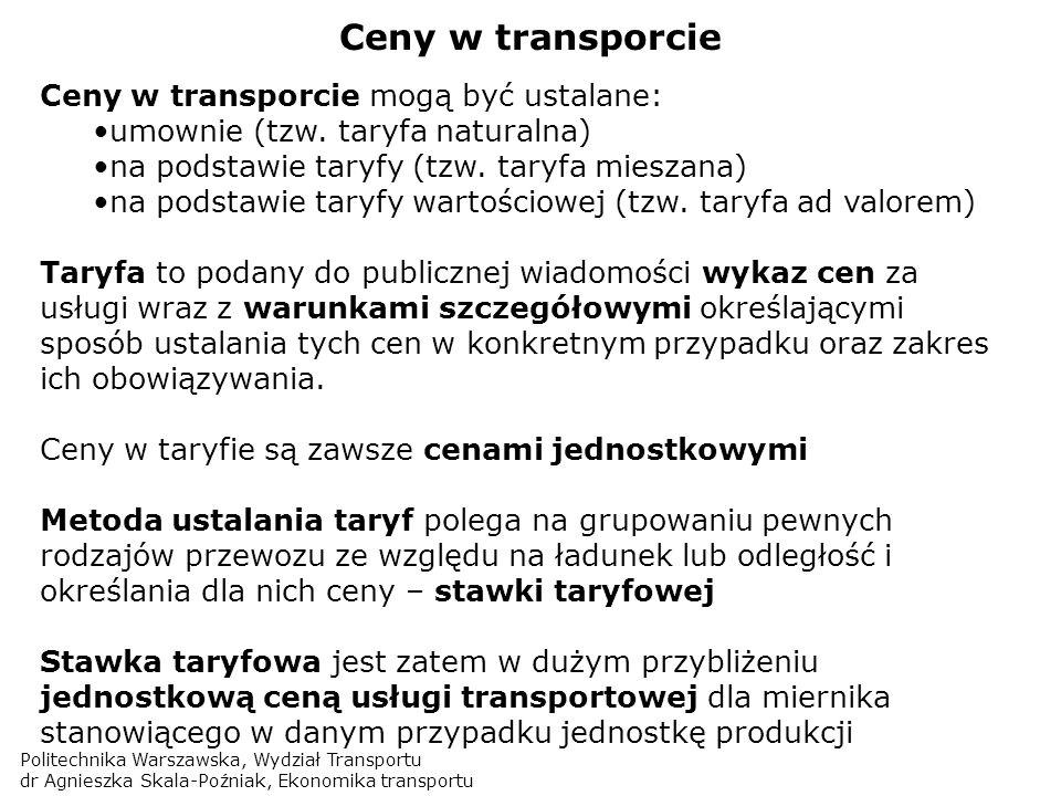 Ceny w transporcie Ceny w transporcie mogą być ustalane: