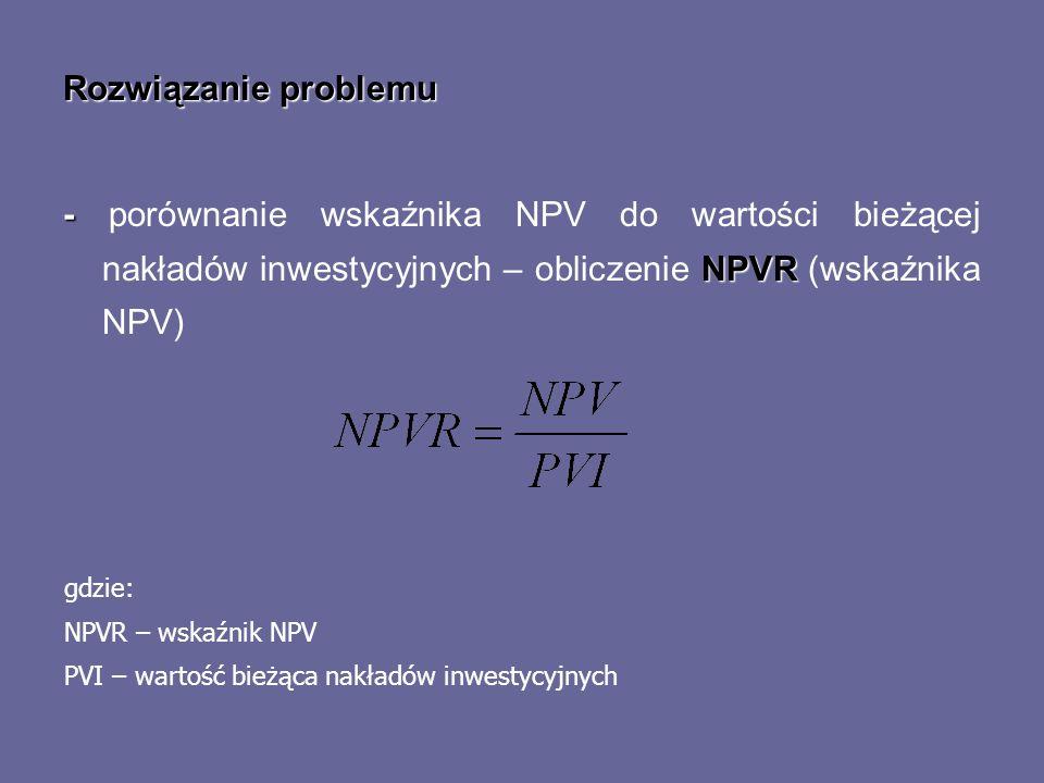Rozwiązanie problemu- porównanie wskaźnika NPV do wartości bieżącej nakładów inwestycyjnych – obliczenie NPVR (wskaźnika NPV)