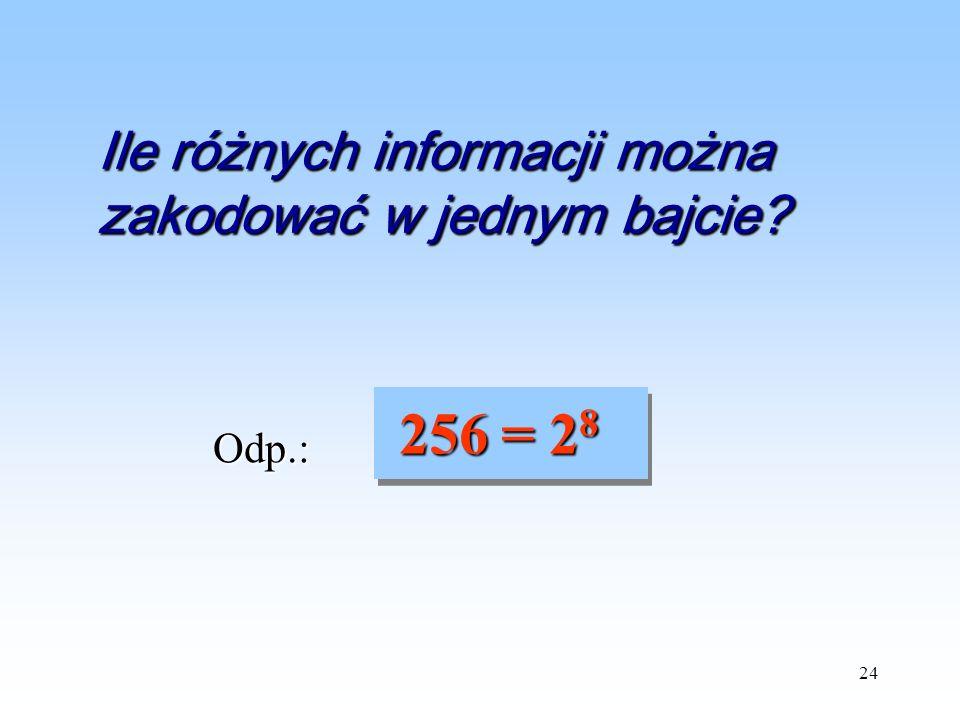 Ile różnych informacji można zakodować w jednym bajcie