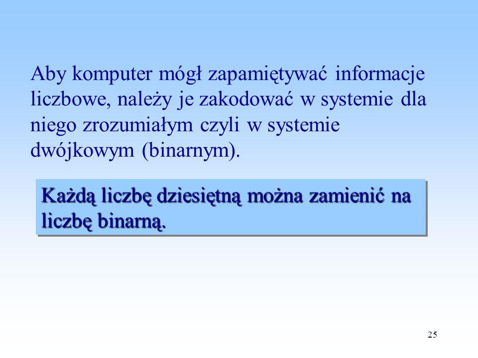 Aby komputer mógł zapamiętywać informacje liczbowe, należy je zakodować w systemie dla niego zrozumiałym czyli w systemie dwójkowym (binarnym).