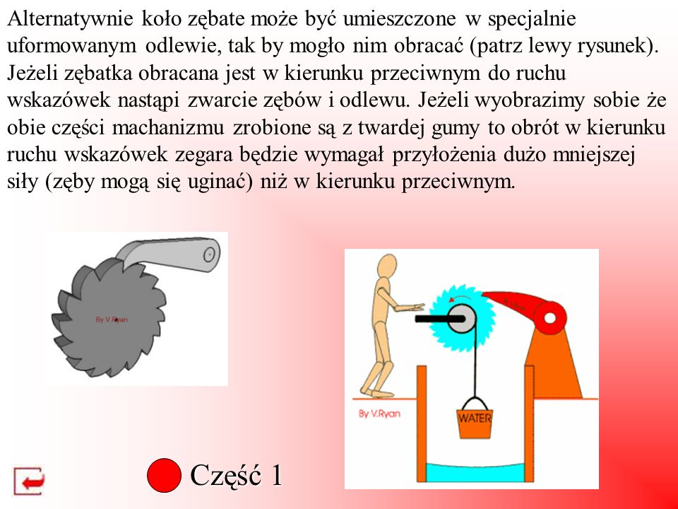 Alternatywnie koło zębate może być umieszczone w specjalnie uformowanym odlewie, tak by mogło nim obracać (patrz lewy rysunek). Jeżeli zębatka obracana jest w kierunku przeciwnym do ruchu wskazówek nastąpi zwarcie zębów i odlewu. Jeżeli wyobrazimy sobie że obie części machanizmu zrobione są z twardej gumy to obrót w kierunku ruchu wskazówek zegara będzie wymagał przyłożenia dużo mniejszej siły (zęby mogą się uginać) niż w kierunku przeciwnym.