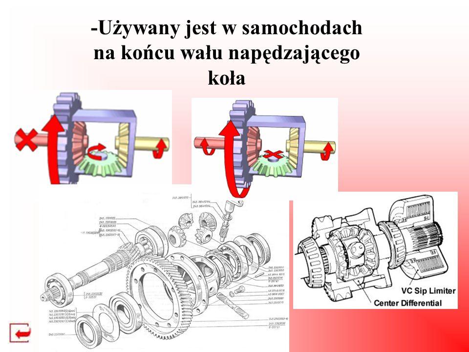 -Używany jest w samochodach na końcu wału napędzającego koła