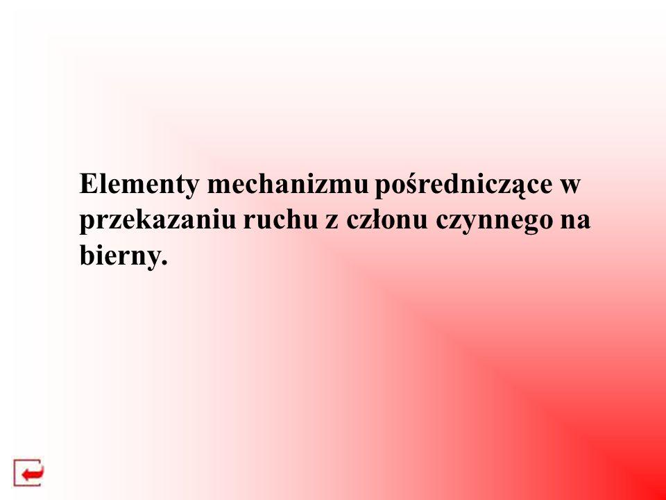 Elementy mechanizmu pośredniczące w przekazaniu ruchu z członu czynnego na bierny.