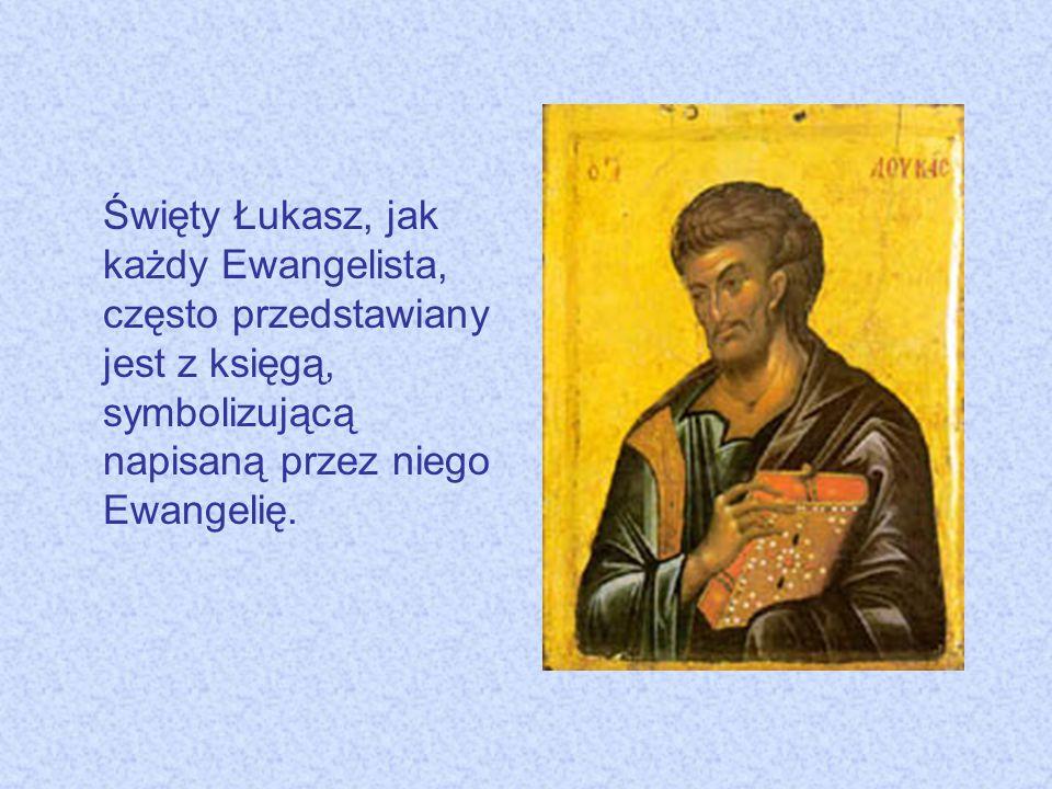 Święty Łukasz, jak każdy Ewangelista, często przedstawiany jest z księgą, symbolizującą napisaną przez niego Ewangelię.
