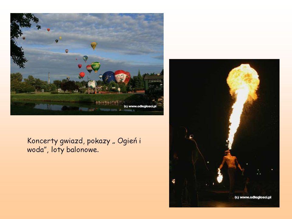 """Koncerty gwiazd, pokazy """" Ogień i woda , loty balonowe."""