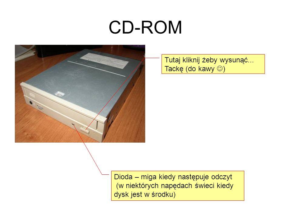 CD-ROM Tutaj kliknij żeby wysunąć... Tackę (do kawy )