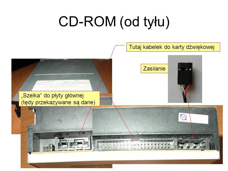 CD-ROM (od tyłu) Tutaj kabelek do karty dźwiękowej Zasilanie