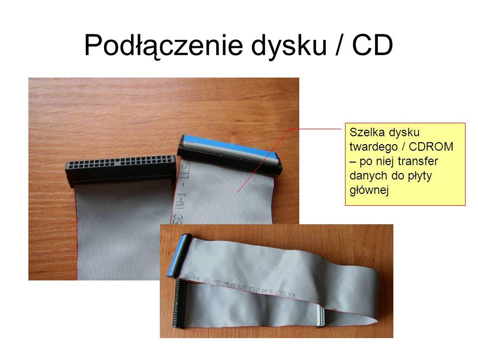 Podłączenie dysku / CD Szelka dysku twardego / CDROM – po niej transfer danych do płyty głównej