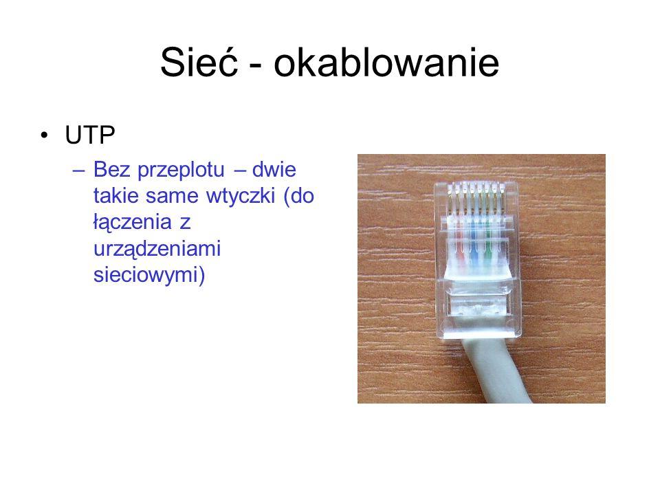Sieć - okablowanieUTP. Bez przeplotu – dwie takie same wtyczki (do łączenia z urządzeniami sieciowymi)