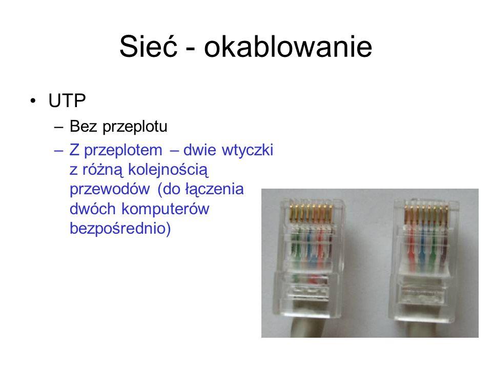 Sieć - okablowanie UTP Bez przeplotu