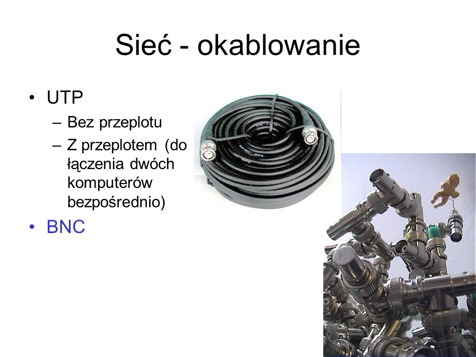 Sieć - okablowanie UTP BNC Bez przeplotu
