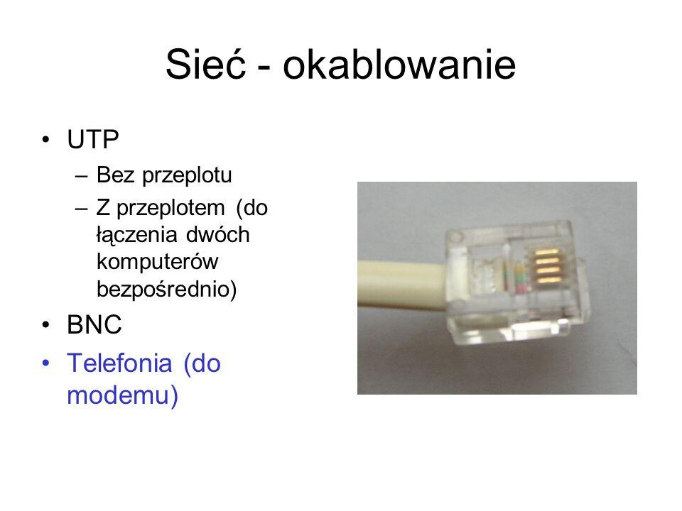 Sieć - okablowanie UTP BNC Telefonia (do modemu) Bez przeplotu