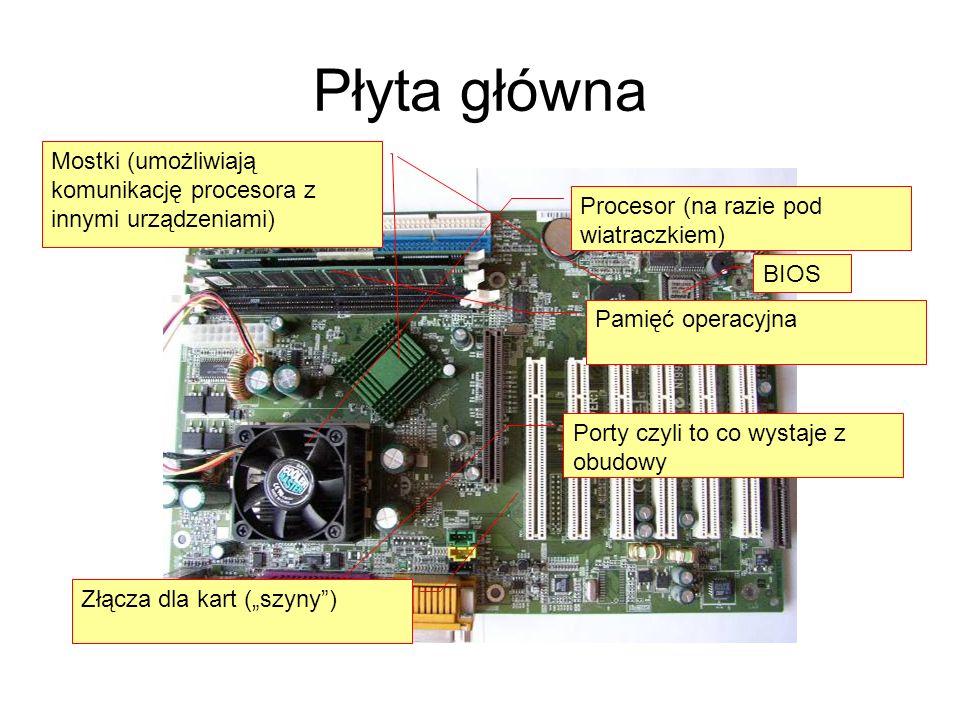 Płyta główna Mostki (umożliwiają komunikację procesora z innymi urządzeniami) Procesor (na razie pod wiatraczkiem)