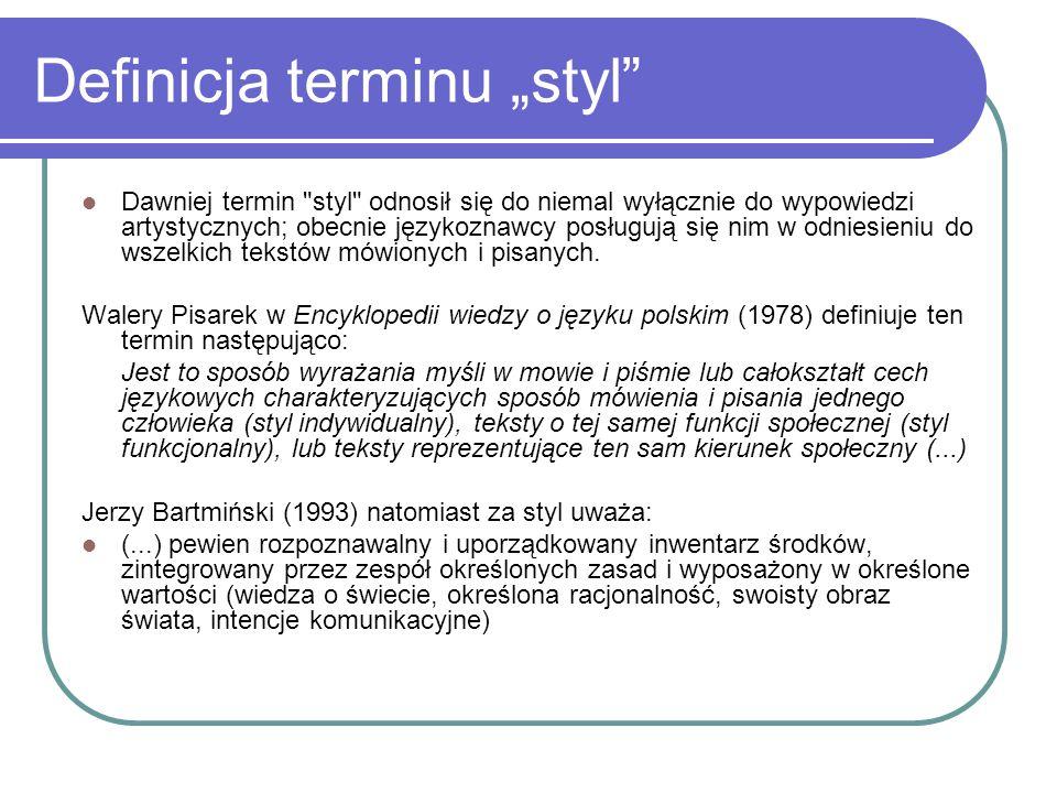 """Definicja terminu """"styl"""