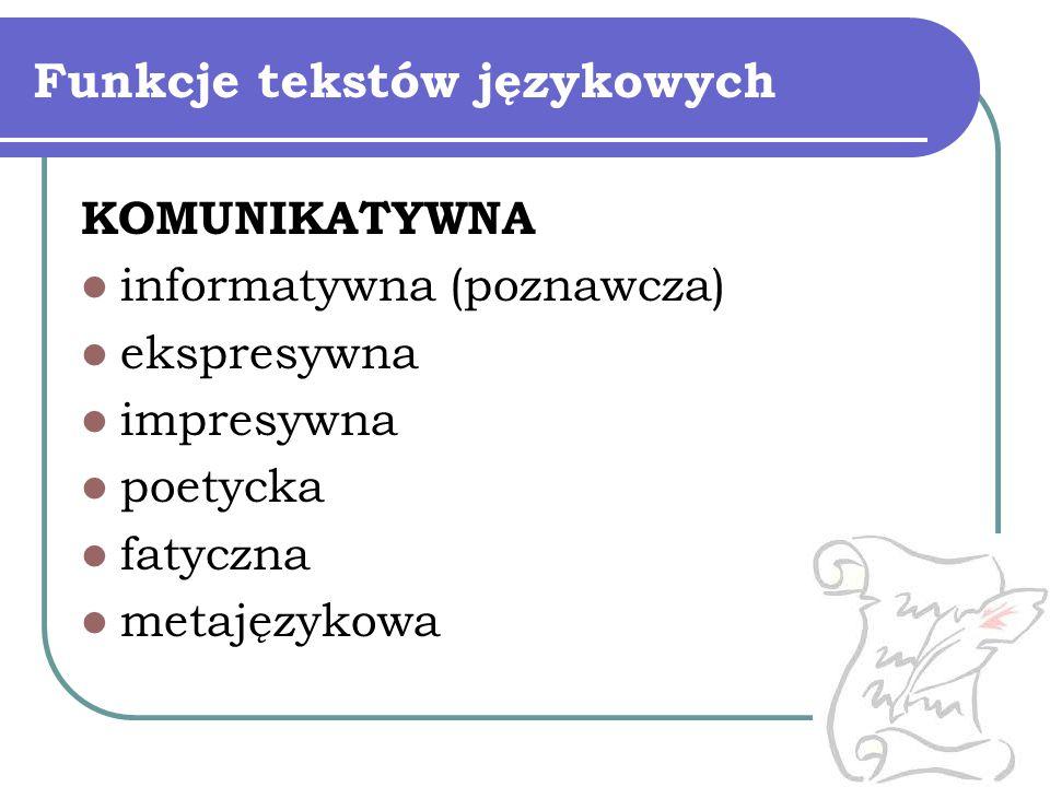 Funkcje tekstów językowych