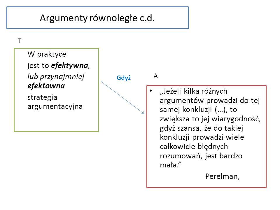 Argumenty równoległe c.d.