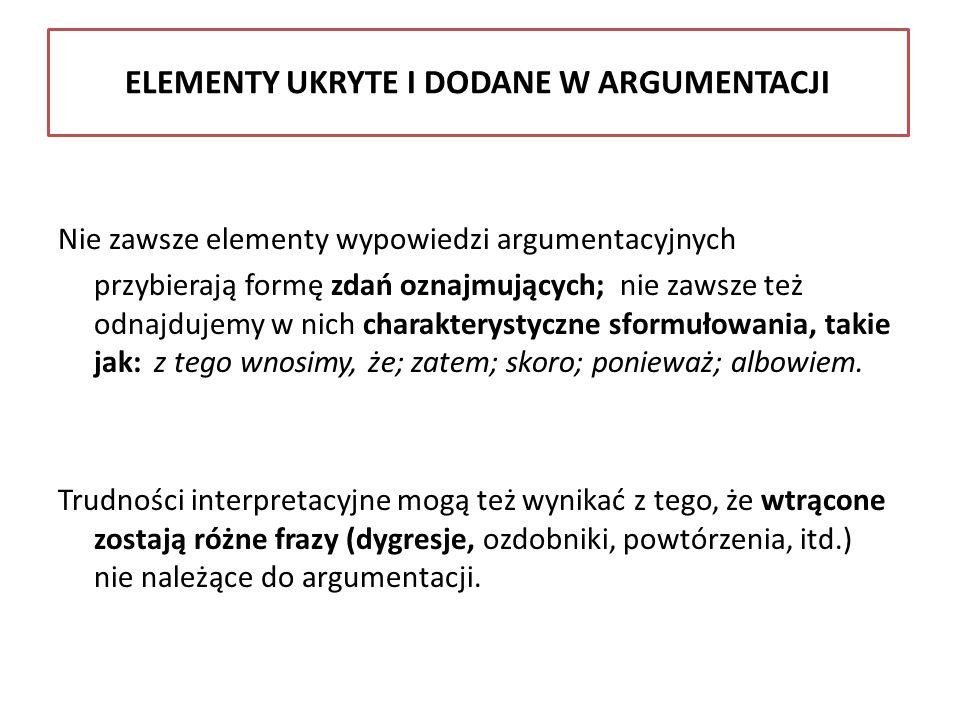 ELEMENTY UKRYTE I DODANE W ARGUMENTACJI