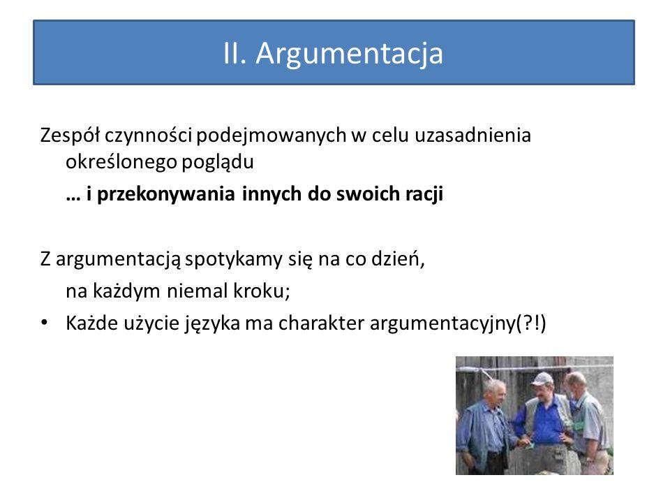 II. Argumentacja Zespół czynności podejmowanych w celu uzasadnienia określonego poglądu. … i przekonywania innych do swoich racji.