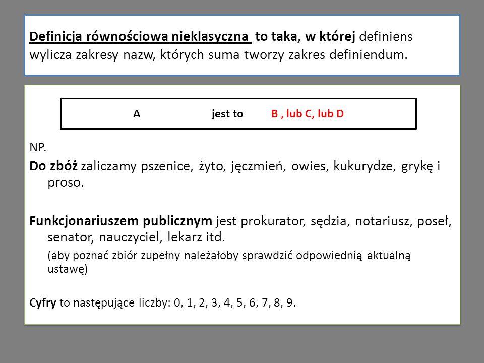 Definicja równościowa nieklasyczna to taka, w której definiens wylicza zakresy nazw, których suma tworzy zakres definiendum.