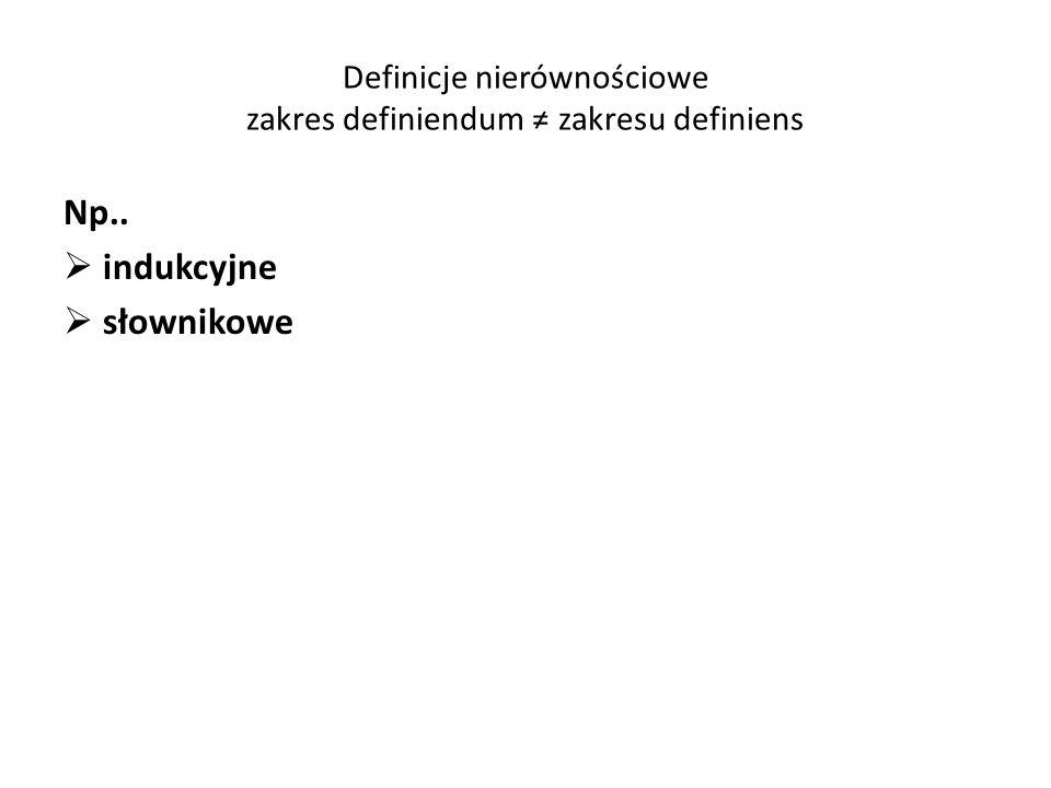 Definicje nierównościowe zakres definiendum ≠ zakresu definiens