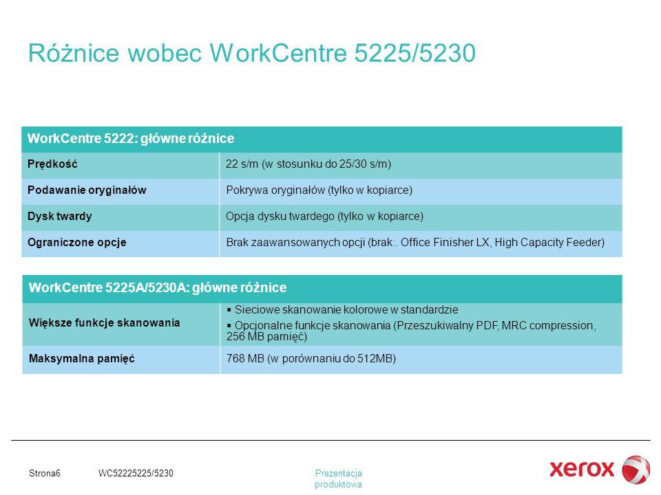 Różnice wobec WorkCentre 5225/5230