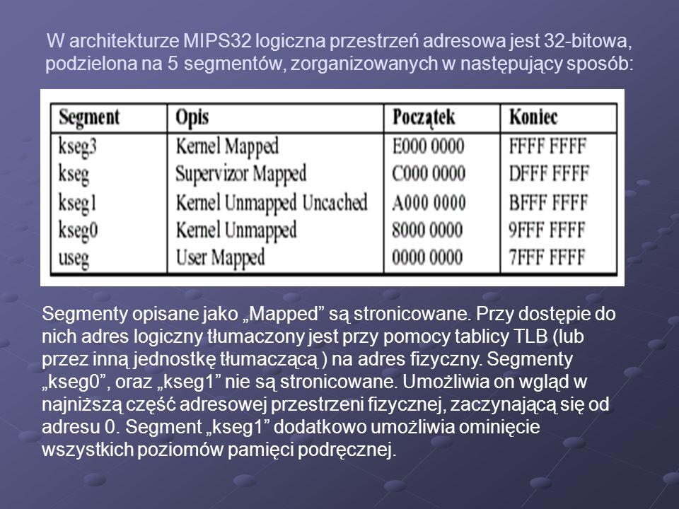 W architekturze MIPS32 logiczna przestrzeń adresowa jest 32-bitowa, podzielona na 5 segmentów, zorganizowanych w następujący sposób: