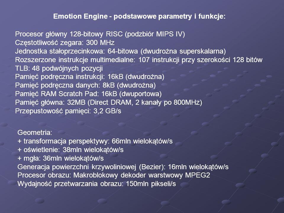 Emotion Engine - podstawowe parametry i funkcje: