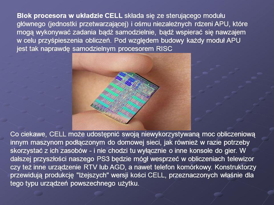 Blok procesora w układzie CELL składa się ze sterującego modułu głównego (jednostki przetwarzającej) i ośmu niezależnych rdzeni APU, które mogą wykonywać zadania bądź samodzielnie, bądź wspierać się nawzajem w celu przyśpieszenia obliczeń. Pod względem budowy każdy moduł APU jest tak naprawdę samodzielnym procesorem RISC
