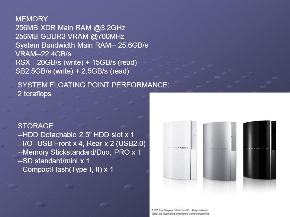MEMORY 256MB XDR Main RAM @3.2GHz 256MB GDDR3 VRAM @700MHz System Bandwidth Main RAM-- 25.6GB/s VRAM--22.4GB/s RSX-- 20GB/s (write) + 15GB/s (read) SB2.5GB/s (write) + 2.5GB/s (read)