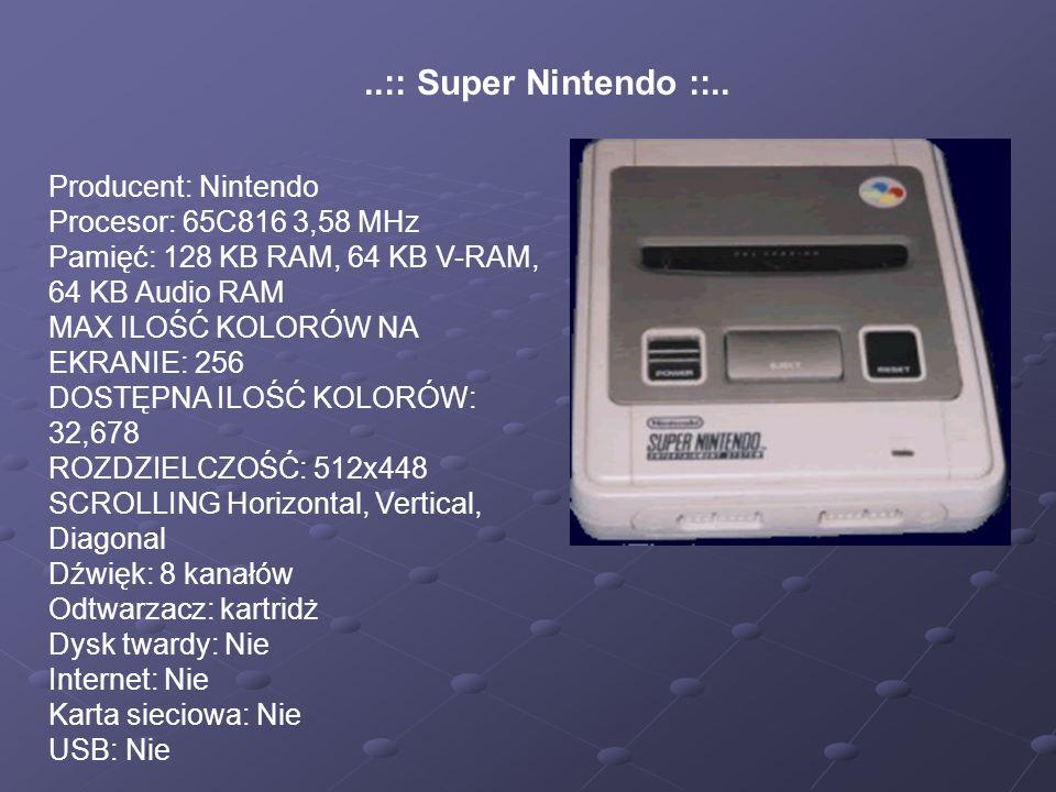 ..:: Super Nintendo ::.. Producent: Nintendo Procesor: 65C816 3,58 MHz