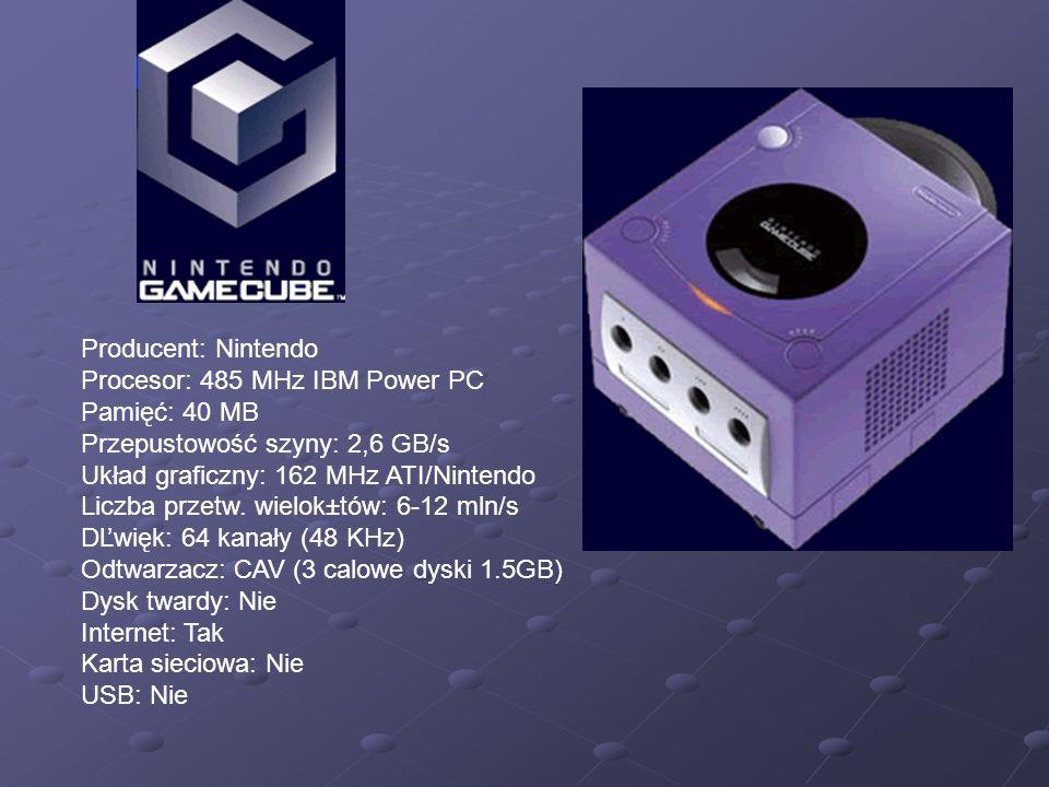 Producent: Nintendo Procesor: 485 MHz IBM Power PC. Pamięć: 40 MB. Przepustowość szyny: 2,6 GB/s.