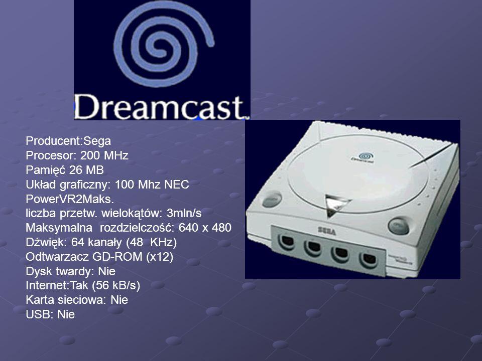 Producent:Sega Procesor: 200 MHz. Pamięć 26 MB. Układ graficzny: 100 Mhz NEC PowerVR2Maks.