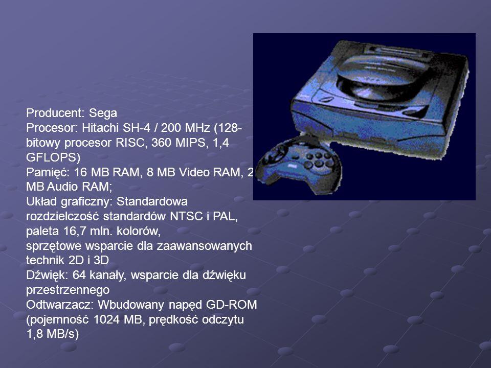 Producent: Sega Procesor: Hitachi SH-4 / 200 MHz (128-bitowy procesor RISC, 360 MIPS, 1,4 GFLOPS) Pamięć: 16 MB RAM, 8 MB Video RAM, 2 MB Audio RAM;