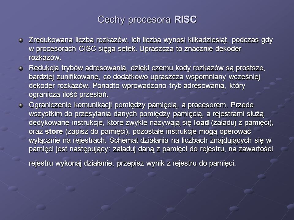 Cechy procesora RISC