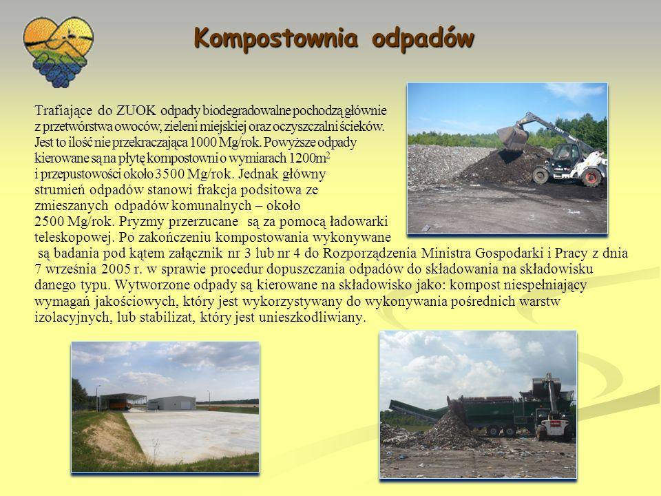 Kompostownia odpadów Trafiające do ZUOK odpady biodegradowalne pochodzą głównie. z przetwórstwa owoców, zieleni miejskiej oraz oczyszczalni ścieków.