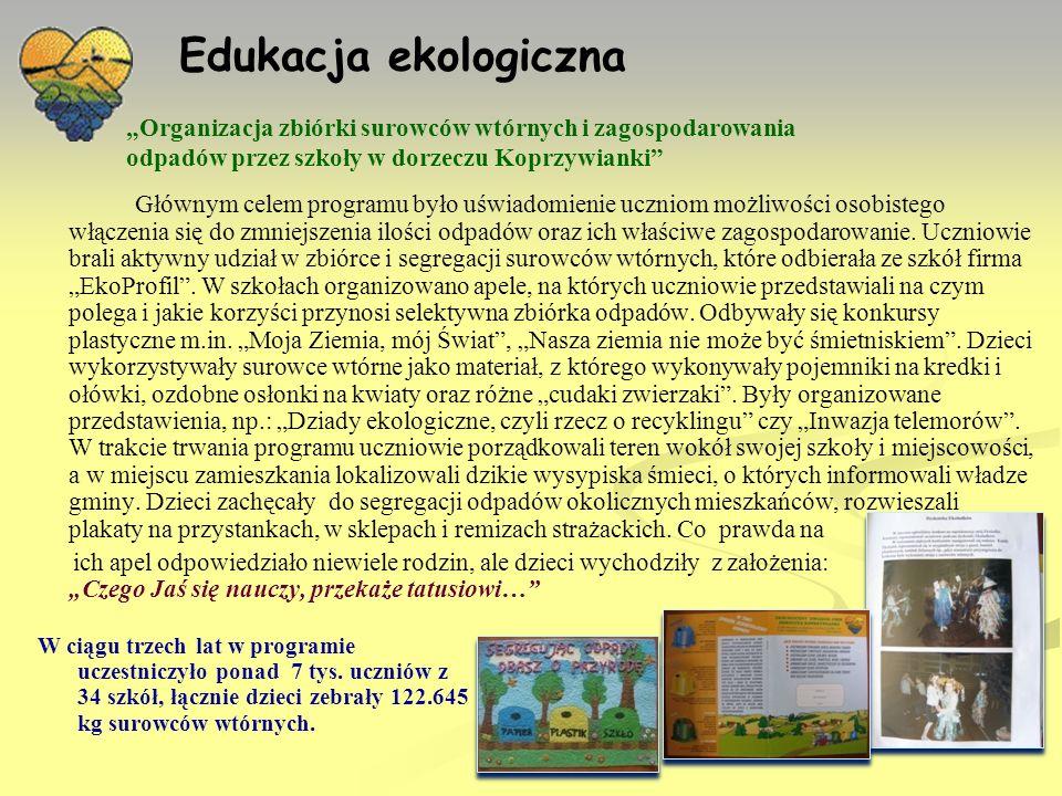 """Edukacja ekologiczna """"Organizacja zbiórki surowców wtórnych i zagospodarowania odpadów przez szkoły w dorzeczu Koprzywianki"""