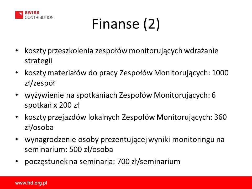 Finanse (2) koszty przeszkolenia zespołów monitorujących wdrażanie strategii. koszty materiałów do pracy Zespołów Monitorujących: 1000 zł/zespół.