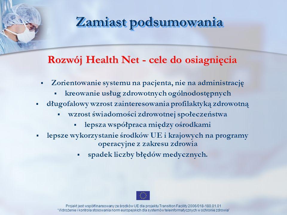 Zamiast podsumowania Rozwój Health Net - cele do osiagnięcia
