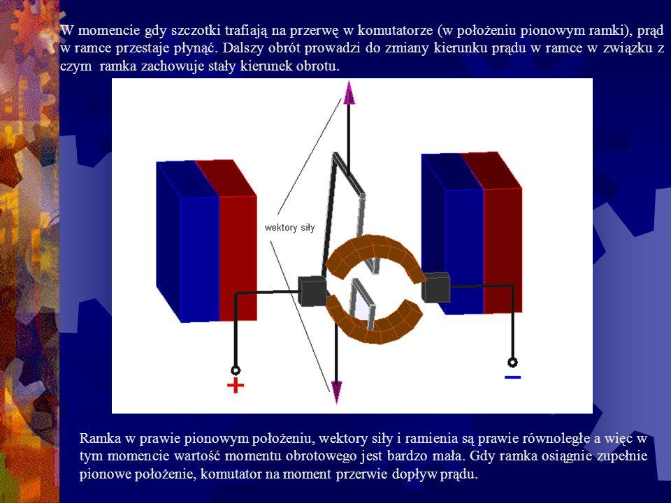 W momencie gdy szczotki trafiają na przerwę w komutatorze (w położeniu pionowym ramki), prąd w ramce przestaje płynąć. Dalszy obrót prowadzi do zmiany kierunku prądu w ramce w związku z czym ramka zachowuje stały kierunek obrotu.