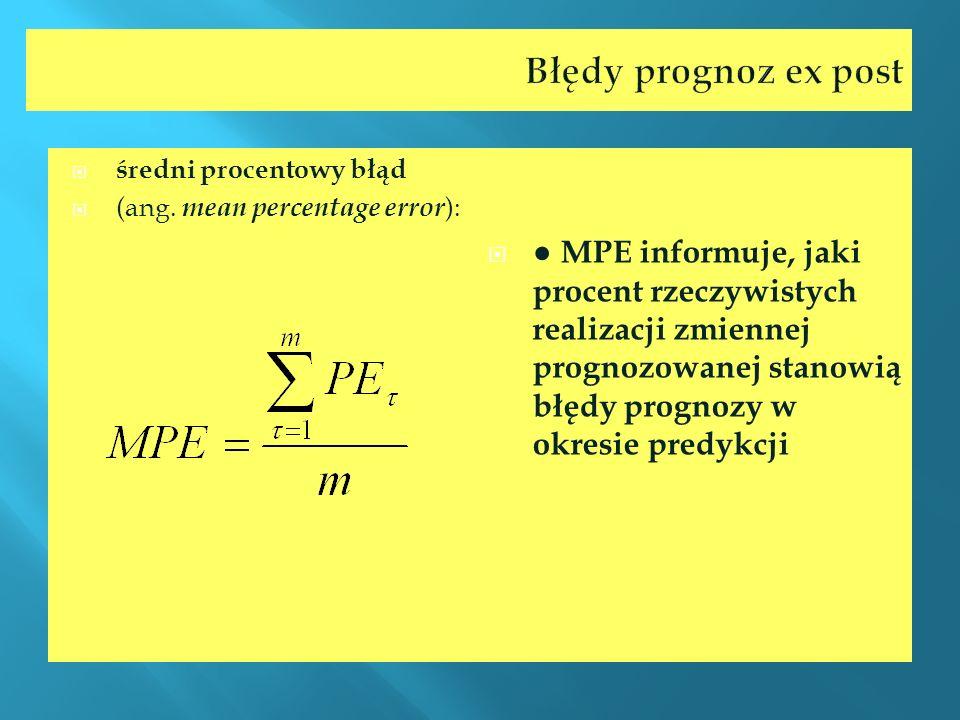 Błędy prognoz ex postśredni procentowy błąd. (ang. mean percentage error):