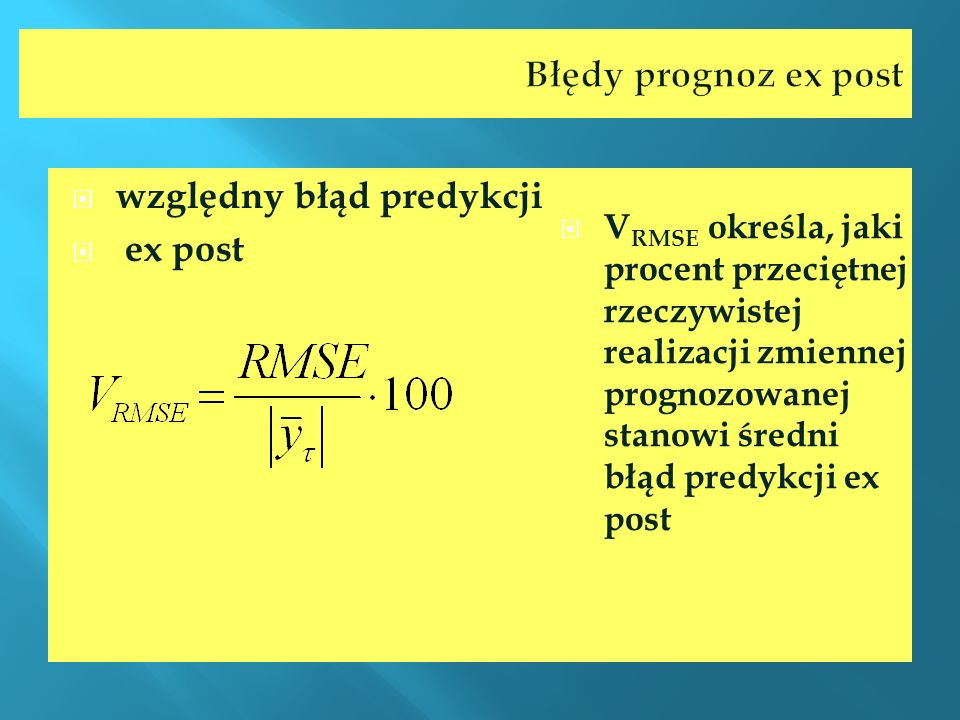 względny błąd predykcji ex post