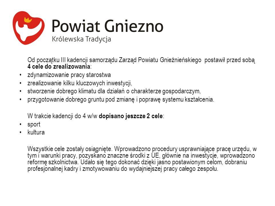 Od początku III kadencji samorządu Zarząd Powiatu Gnieźnieńskiego postawił przed sobą 4 cele do zrealizowania: