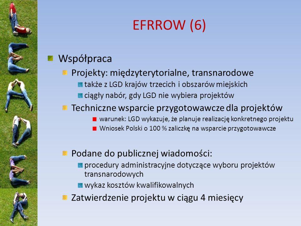 EFRROW (6) Współpraca Projekty: międzyterytorialne, transnarodowe