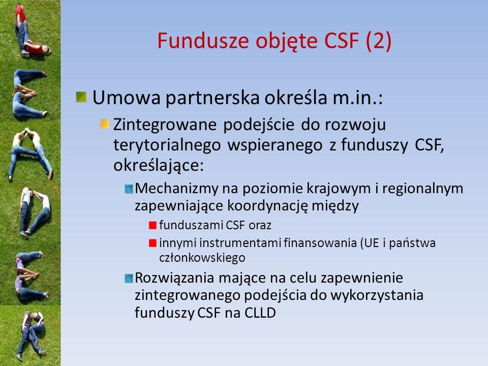 Fundusze objęte CSF (2) Umowa partnerska określa m.in.: