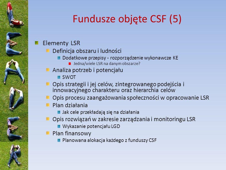 Fundusze objęte CSF (5) Elementy LSR Definicja obszaru i ludności